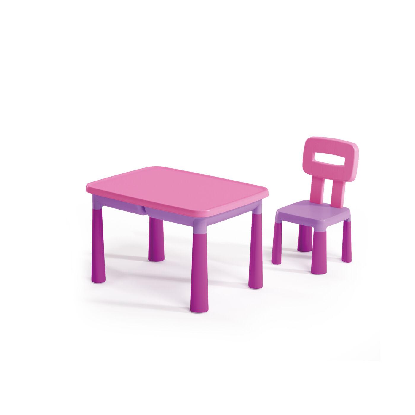 Műanyag gyermekasztal+szék Fukszia