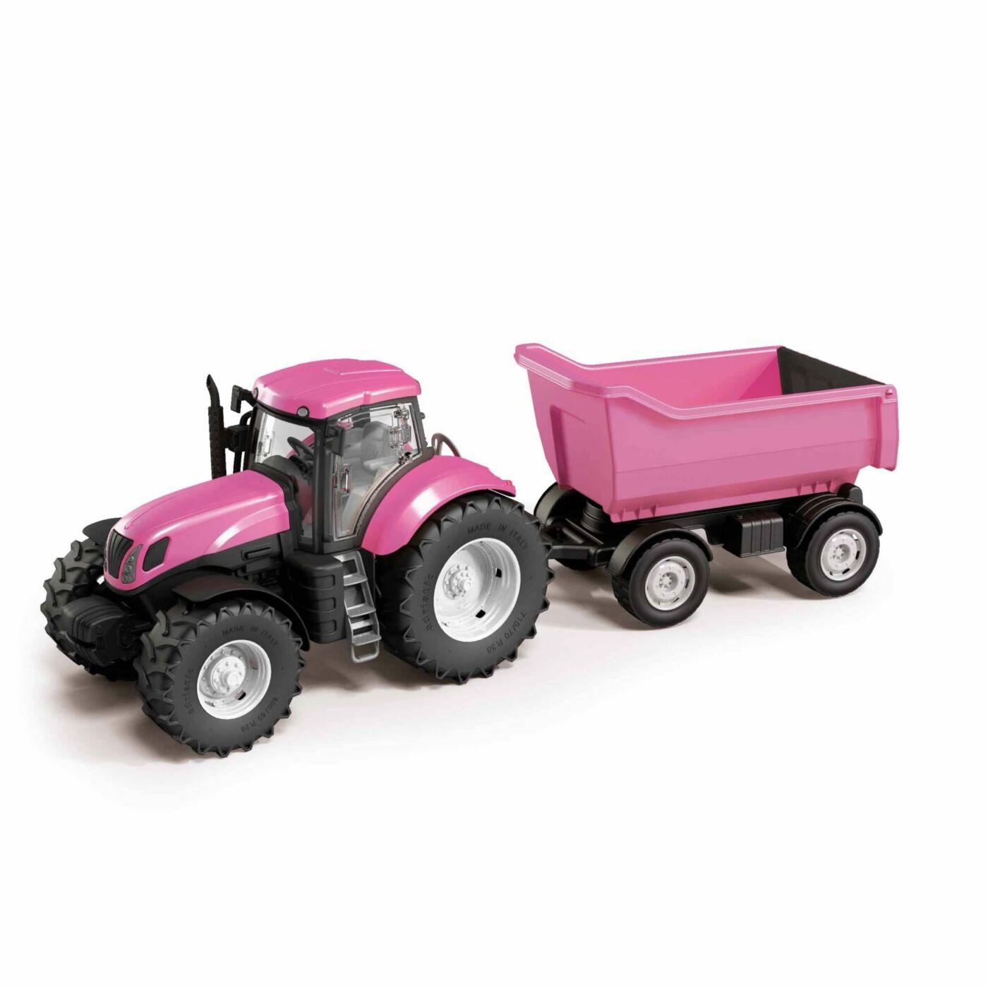 Rózsaszín traktor utánfutóval
