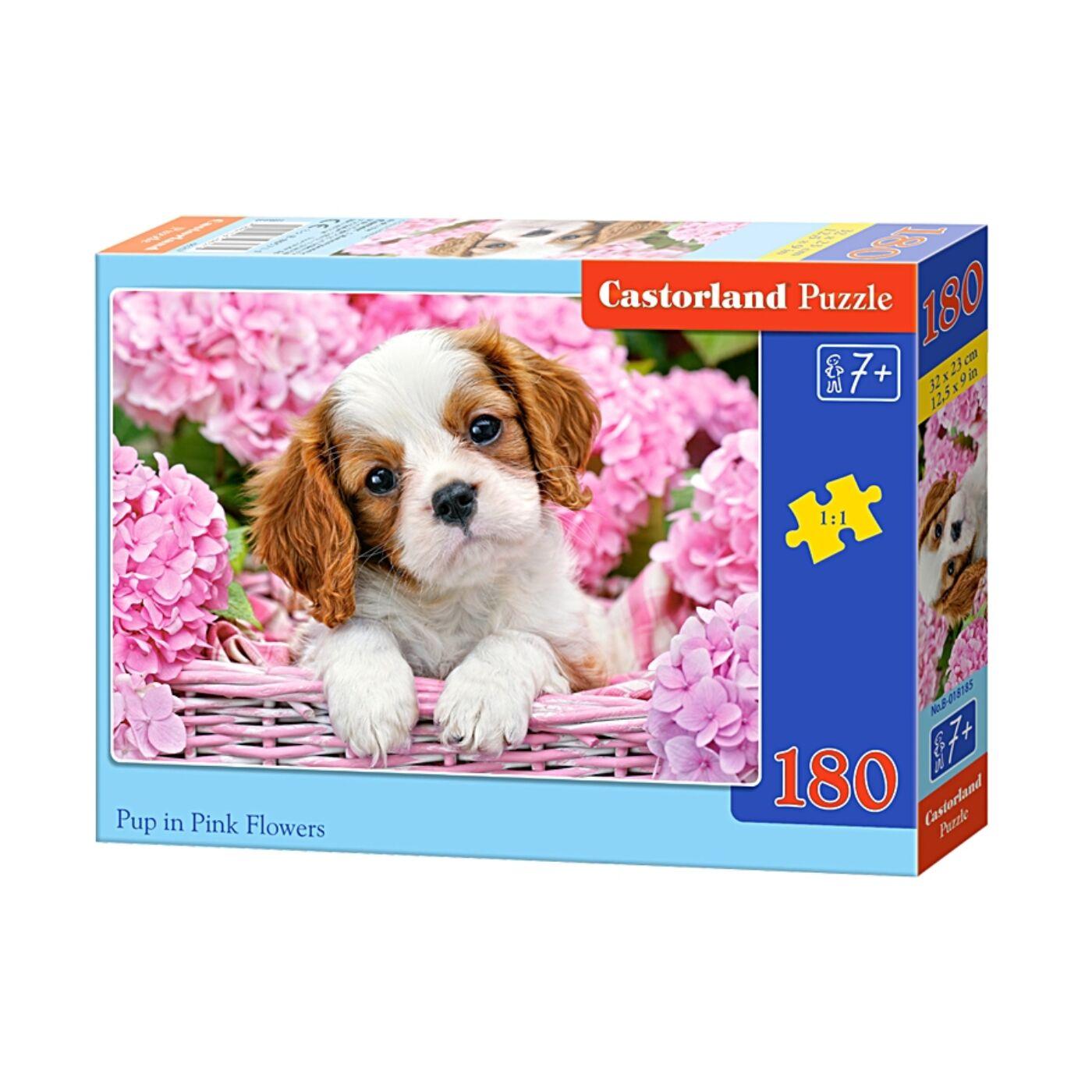 180 db-os Castorland puzzle - Kölyökkutya rózsaszín virágokkal