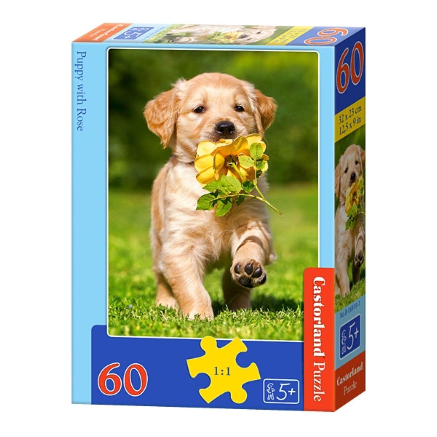 60 db-os puzzle - Kölyökkutya rózsával