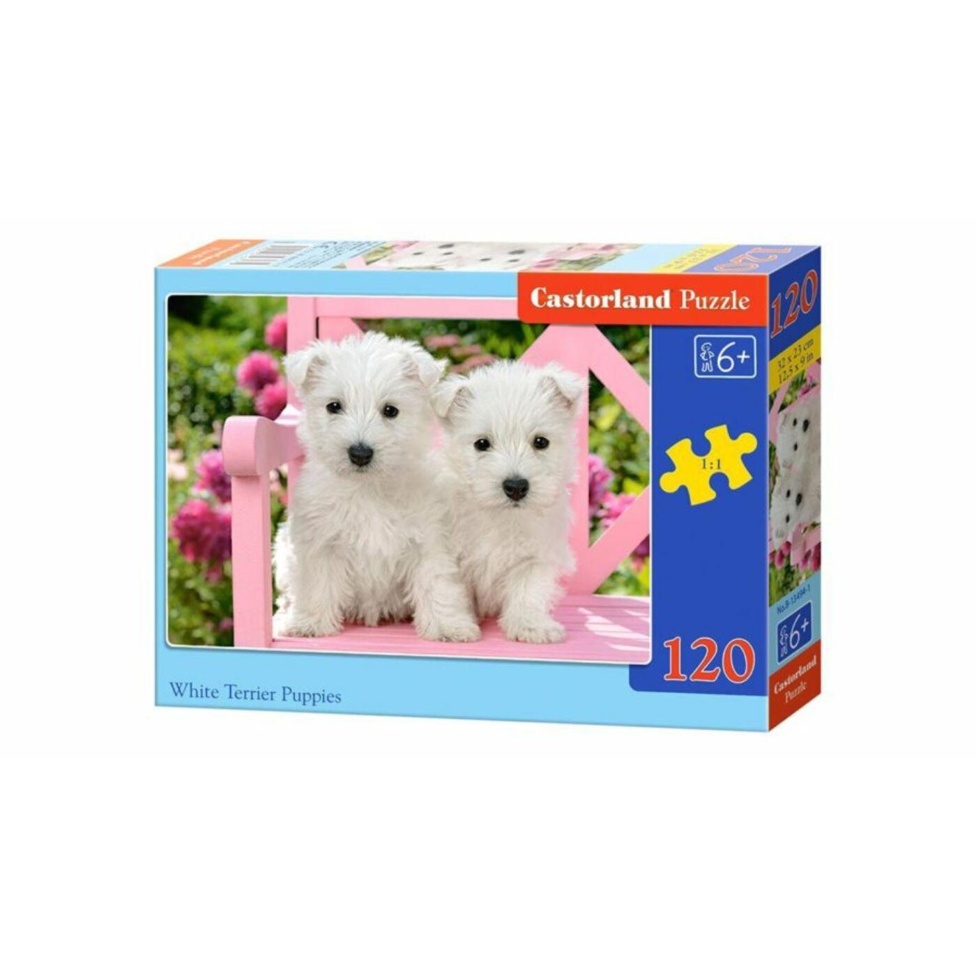 120 db-os Castorland puzzle - Fehér terrier kölykök