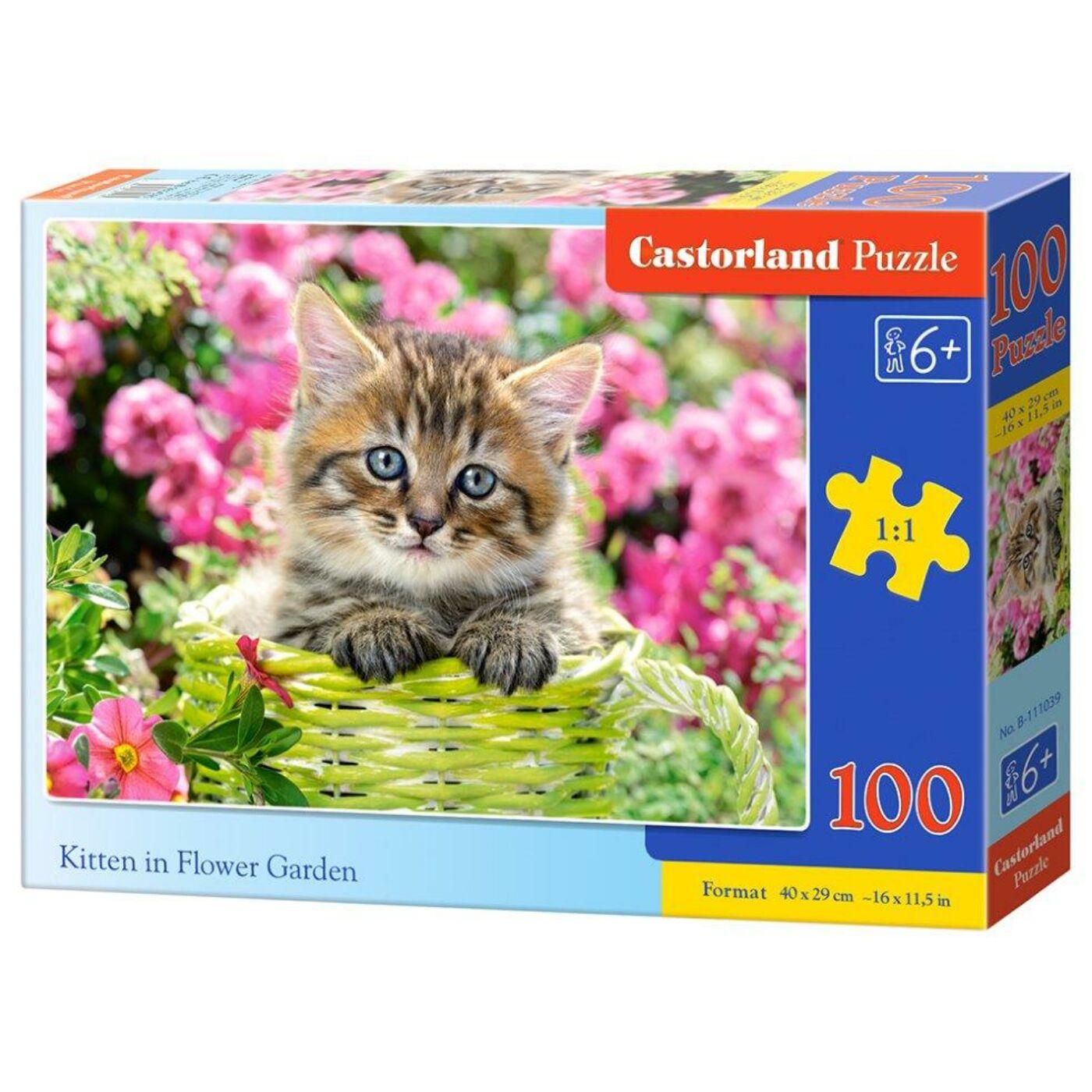 100 db-os Castorland puzzle - Cica a virágoskertben
