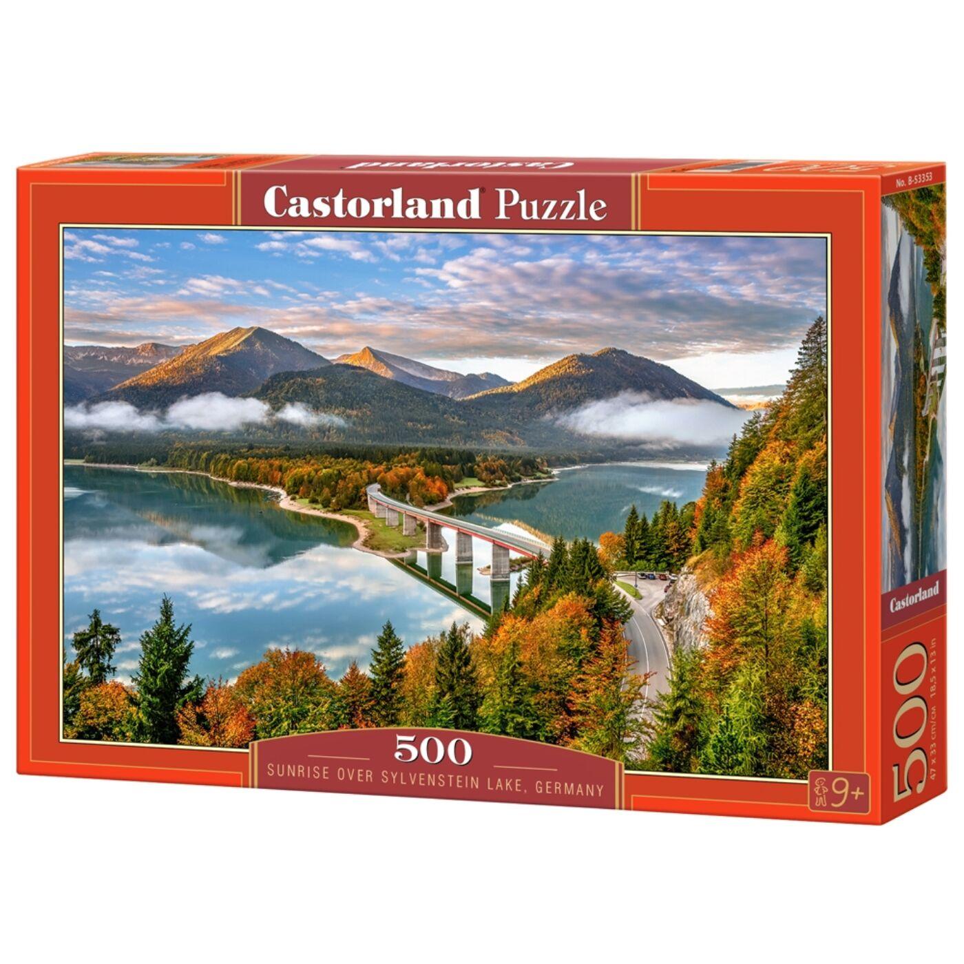 500 db-os puzzle - Napsütés a Sylvenstein tó felett, Németország