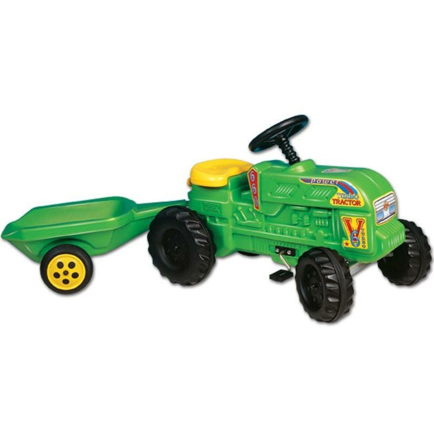Farmer traktor utánfutóval