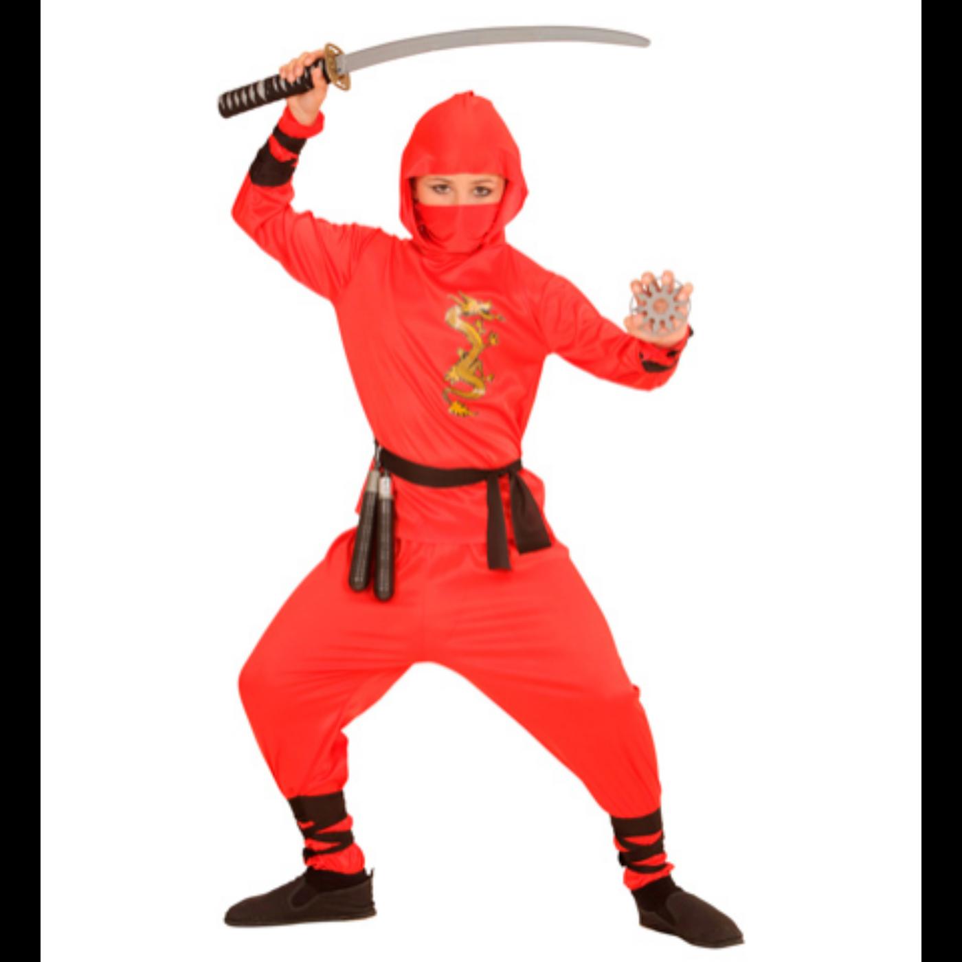 Piros sárkány ninja jelmez 140-es