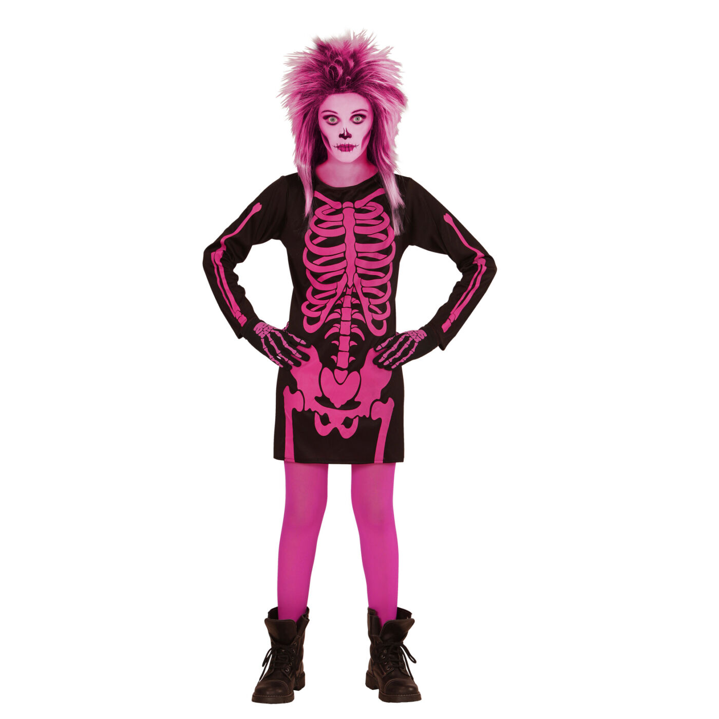 Rózsaszín csontváz jelmez 128-as