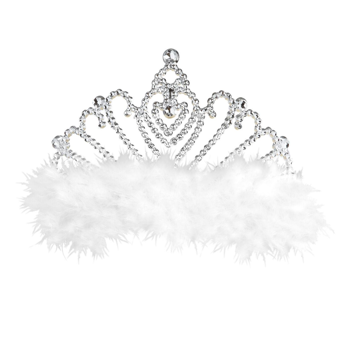 Ezüst színű tiara tollal
