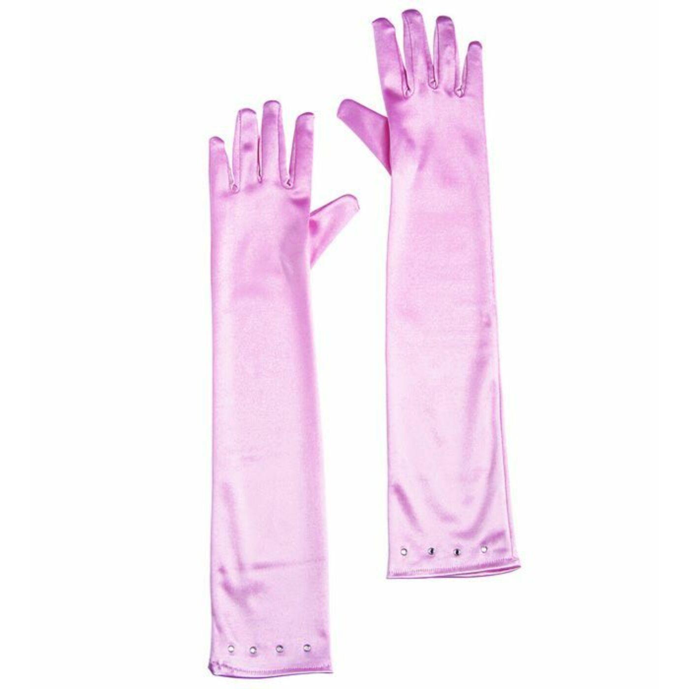 Rózsaszín szatén kesztyű