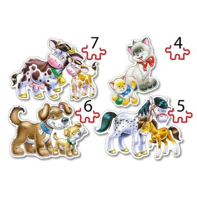 4 az 1-ben puzzle – Állatok és kicsinyeik